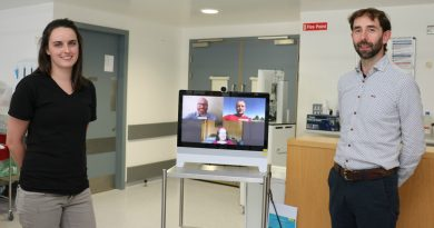 NUI Galway Research Fellows and UHG staff introduce video calling system using Cisco software and hardware donated by Cisco with the free support of IBM volunteers and the wider Galway community